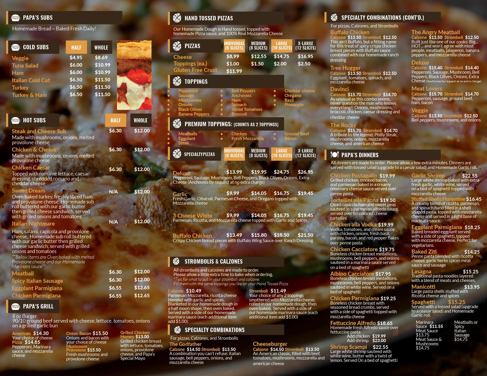 Pizza Satellite Beach | Menu Back - Pappagallos